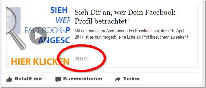 Facebook-App gibt Profilbesuch-Ausgabe vor. FAKE!