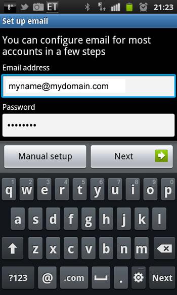 Samsung Galaxy S2 - Email Einrichtung 2. Schritt