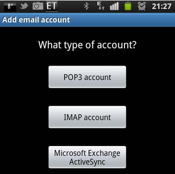 Samsung Galaxy S2 - Email Einrichtung 3.Schritt