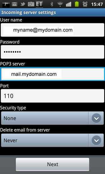 Samsung Galaxy S2 - Email Einrichtung 4. Schritt