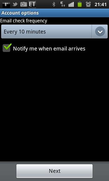 Samsung Galaxy S2 - Email Einrichtung 6. Schritt