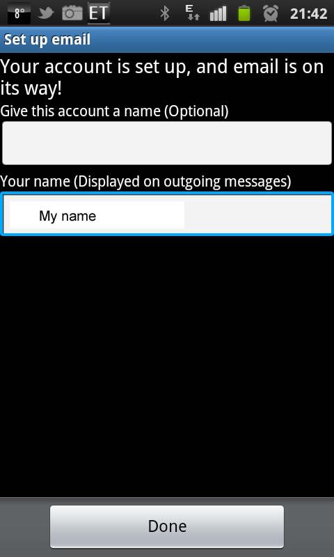 Samsung Galaxy S2 - Email Einrichtung 7. Schritt