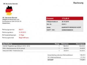 gef lschte domain rechnungen per e mail von de deutsche. Black Bedroom Furniture Sets. Home Design Ideas