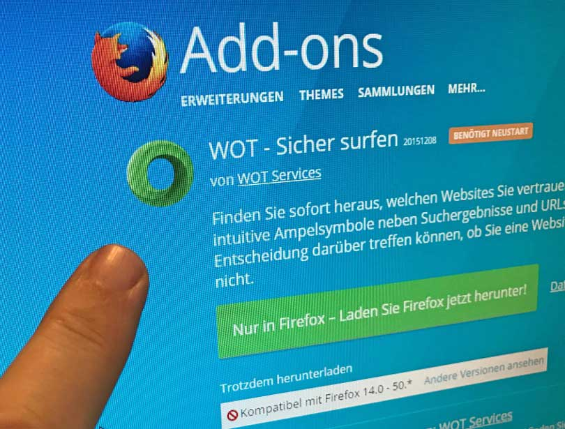 Mozilla Firefox - Web of Trust Plugin im Downloadbereich